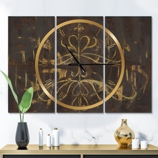 Designart 'Glam Gold Chandelier' Glam 3 Panels Oversized Wall CLock - 36 in. wide x 28 in. high - 3 panels