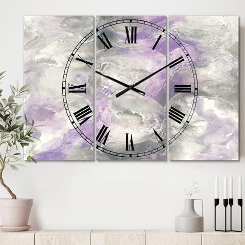 Porch & Den 'Watercolor Purple Tones III' Tri-panel Metal Clock - 36 in. wide x 28 in. high - 3 panels