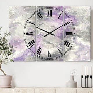 Porch & Den 'Watercolor Purple Tones III' Tri-panel Metal Clock