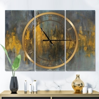Designart 'Black and Gold Glam Abstract' Glam 3 Panels Oversized Wall CLock - 36 in. wide x 28 in. high - 3 panels