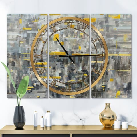 Designart 'Glam Gold Reflection' Glam 3 Panels Oversized Wall CLock - 36 in. wide x 28 in. high - 3 panels