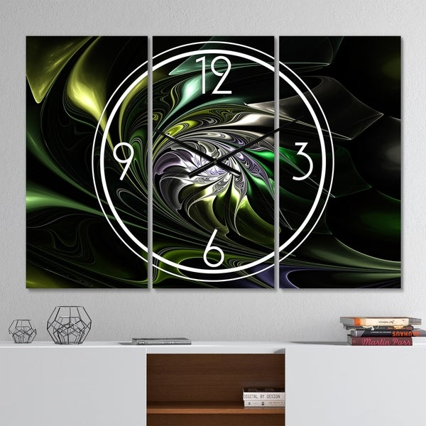Designart 'Multi Colored Green Stained Glass' Modern 3 Panels Oversized Wall CLock - 36 in. wide x 28 in. high - 3 panels
