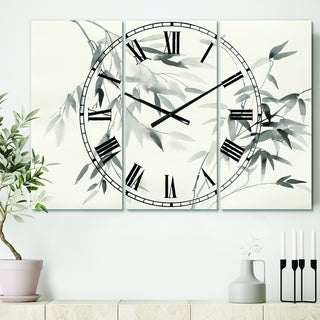 Designart 'Bamboo Leaves II' Cottage 3 Panels Large Wall CLock - 36 in. wide x 28 in. high - 3 panels