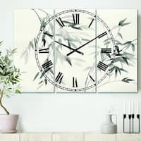 Designart 'Bamboo Leaves II' Cottage 3 Panels Oversized Metal Clock - 36 in. wide x 28 in. high - 3 panels