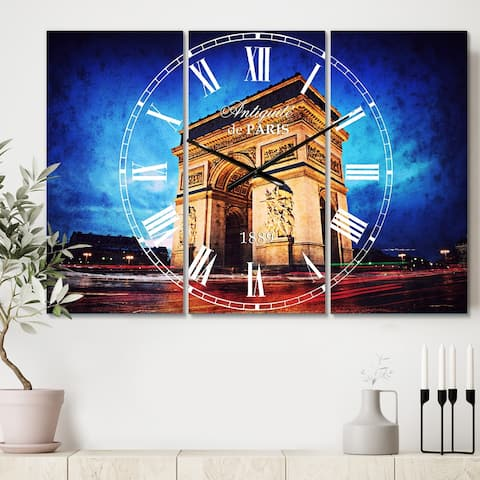 Designart 'Arch of Triumph in Paris' Cottage 3 Panels Large Wall CLock - 36 in. wide x 28 in. high - 3 panels