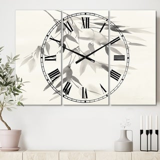 Designart 'Simplist Bamboo Leaves IV' Cottage 3 Panels Oversized Wall CLock - 36 in. wide x 28 in. high - 3 panels