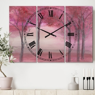 Designart 'Pink Forest' Cottage 3 Panels Large Wall CLock - 36 in. wide x 28 in. high - 3 panels
