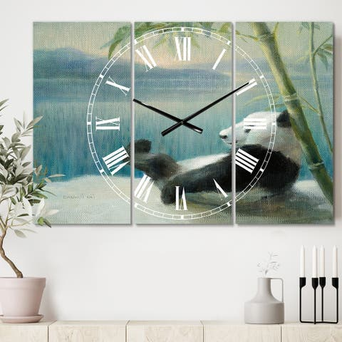 Designart 'Panda after a long day' Cottage 3 Panels Large Wall CLock - 36 in. wide x 28 in. high - 3 panels