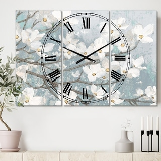 Designart 'Blue on Grey Blossoms' Cottage 3 Panels Oversized Wall CLock - 36 in. wide x 28 in. high - 3 panels
