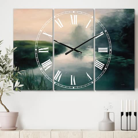 Designart 'Twilight Fog Lakeshore' Cottage 3 Panels Oversized Wall CLock - 36 in. wide x 28 in. high - 3 panels