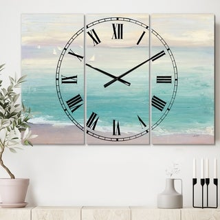 Designart 'From the Shore' Cottage 3 Panels Large Wall CLock - 36 in. wide x 28 in. high - 3 panels