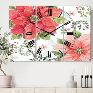 Designart 'Country Flower snowflakes III' Cottage 3 Panels Large Wall CLock - 36 in. wide x 28 in. high - 3 panels