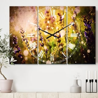 Designart 'Beautiful Purple Wild Flowers' Cottage 3 Panels Oversized Wall CLock - 36 in. wide x 28 in. high - 3 panels