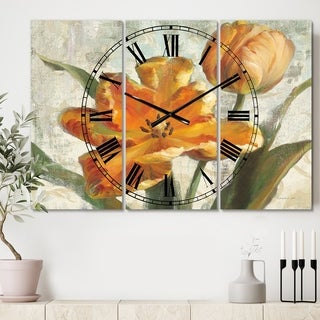 Designart 'Parrot Tulips I on Ivory' Cottage 3 Panels Oversized Wall CLock - 36 in. wide x 28 in. high - 3 panels