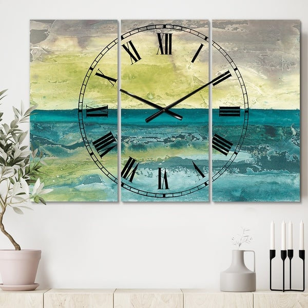 Designart 'Beyond the Horizon I' Cottage 3 Panels Oversized Wall CLock - 36 in. wide x 28 in. high - 3 panels