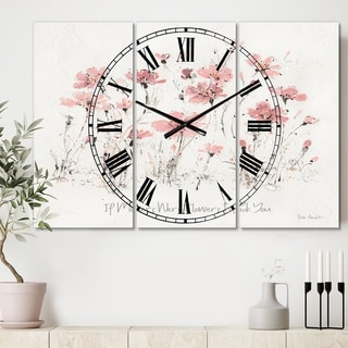 Designart 'Wildflowers III' Cottage 3 Panels Large Wall CLock - 36 in. wide x 28 in. high - 3 panels