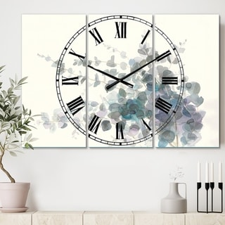 Designart 'Grey Watercolor Flower II' Cottage 3 Panels Oversized Wall CLock - 36 in. wide x 28 in. high - 3 panels