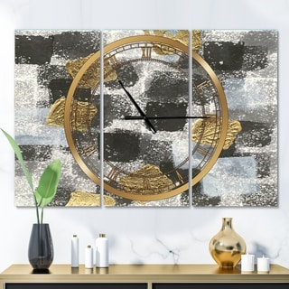 Designart 'Gold Glamour Squares I' Glam 3 Panels Oversized Wall CLock - 36 in. wide x 28 in. high - 3 panels