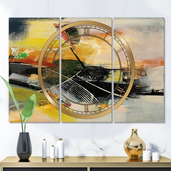 Designart 'End of the Orange Rainbow I' Glam 3 Panels Oversized Wall CLock - 36 in. wide x 28 in. high - 3 panels