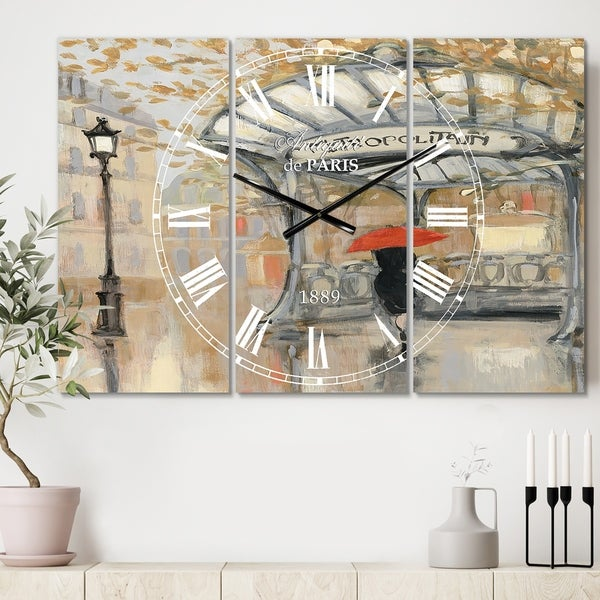 Designart 'Love in Paris IV' Cottage 3 Panels Large Wall CLock - 36 in. wide x 28 in. high - 3 panels