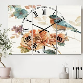 Designart 'Cottage Bird on Orange Flower Twig' Cottage 3 Panels Oversized Wall CLock - 36 in. wide x 28 in. high - 3 panels