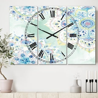 Designart 'Watercolor mandalas IV' Cottage 3 Panels Large Wall CLock - 36 in. wide x 28 in. high - 3 panels