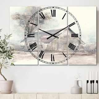 Designart 'Farmhouse Barn Grey III' Cottage 3 Panels Oversized Wall CLock - 36 in. wide x 28 in. high - 3 panels