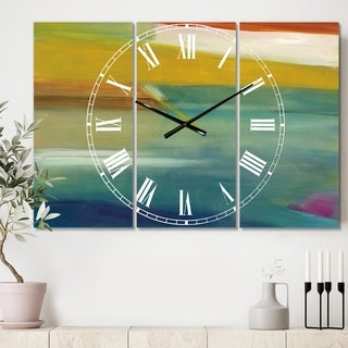 Designart 'Waterpainting Impression of Indigo And Green' Cottage 3 Panels Oversized Wall CLock