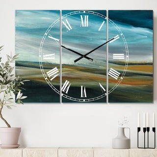 Designart 'Watercolor Desert Storm Abstract Blue' Cottage 3 Panels Oversized Wall CLock - 36 in. wide x 28 in. high - 3 panels