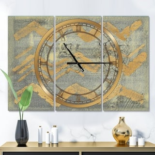 Designart 'Glam Metallic Form III' Glam 3 Panels Oversized Wall CLock - 36 in. wide x 28 in. high - 3 panels