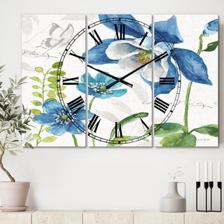Designart 'Blue Columbine Flowers With Butterfly' Cottage 3 Panels Large Wall CLock - 36 in. wide x 28 in. high - 3 panels