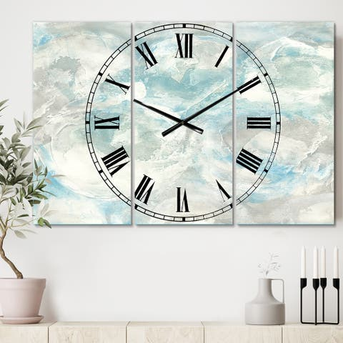 Designart 'Pale Blue Shade III' Cottage 3 Panels Large Wall CLock - 36 in. wide x 28 in. high - 3 panels