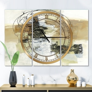 Designart 'Glam Cream Dream I' Glam 3 Panels Large Wall CLock - 36 in. wide x 28 in. high - 3 panels