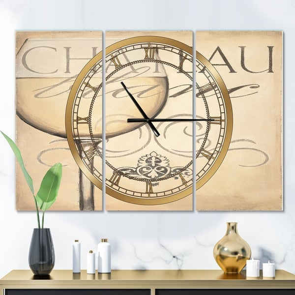 Designart 'French Chateau White Wine II' Glam 3 Panels Oversized Wall CLock - 36 in. wide x 28 in. high - 3 panels