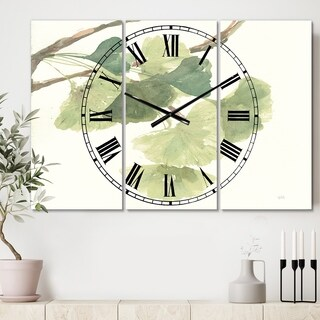 Designart 'Watercolor Gingko Leaves I' Cottage 3 Panels Large Wall CLock - 36 in. wide x 28 in. high - 3 panels