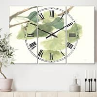 Designart 'Watercolor Gingko Leaves I' Cottage 3 Panels Oversized Metal Clock - 36 in. wide x 28 in. high - 3 panels