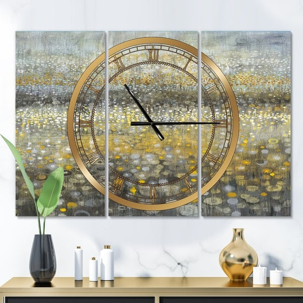 Designart 'Galm Abstract III' Glam 3 Panels Large Wall CLock - 36 in. wide x 28 in. high - 3 panels