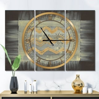 Designart 'Galm Abstract I' Glam 3 Panels Large Wall CLock - 36 in. wide x 28 in. high - 3 panels