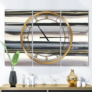 Designart 'Gold Watercolor Amethyst I' Glam 3 Panels Oversized Wall CLock - 36 in. wide x 28 in. high - 3 panels
