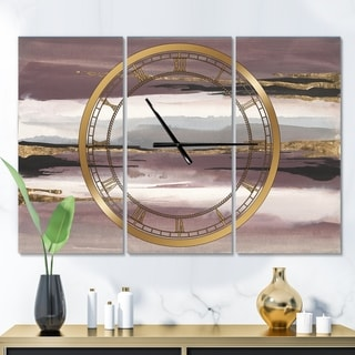 Designart 'Purple Glam Storm I' Glam 3 Panels Oversized Wall CLock - 36 in. wide x 28 in. high - 3 panels