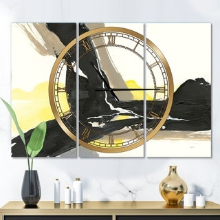 Designart 'Glam Black and Yellow I' Glam 3 Panels Oversized Wall CLock - 36 in. wide x 28 in. high - 3 panels