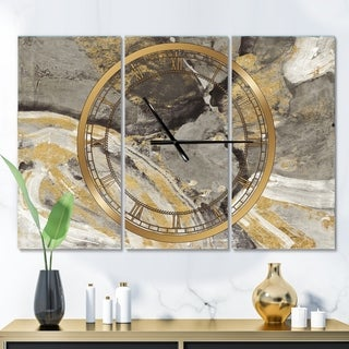 Designart 'Glam Phoenix Neutral' Glam 3 Panels Large Wall CLock - 36 in. wide x 28 in. high - 3 panels