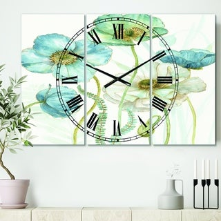 Designart 'Blue Cottage Flowers Drawing II' Cottage 3 Panels Large Wall CLock - 36 in. wide x 28 in. high - 3 panels