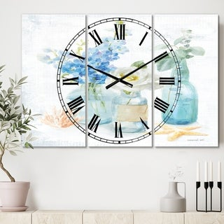 Designart 'Cottage Florals II' Cottage 3 Panels Large Wall CLock - 36 in. wide x 28 in. high - 3 panels