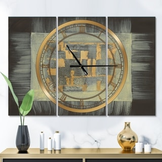 Designart 'Gold Geometric Tapestry II' Glam 3 Panels Oversized Wall CLock - 36 in. wide x 28 in. high - 3 panels