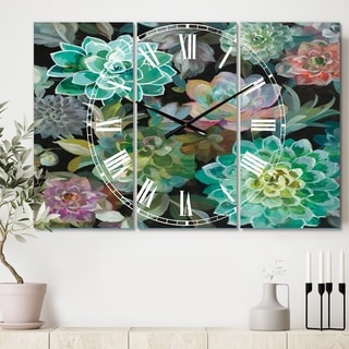 Designart 'Floral Succulents' Cottage 3 Panels Oversized Wall CLock - 36 in. wide x 28 in. high - 3 panels