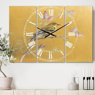 Designart 'Gold Bird on Blossoms III' Cottage 3 Panels Oversized Wall CLock - 36 in. wide x 28 in. high - 3 panels