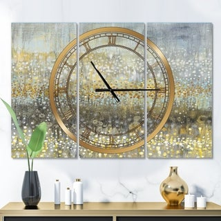 Designart 'Glam Rain Abstract IV' Glam 3 Panels Oversized Wall CLock - 36 in. wide x 28 in. high - 3 panels