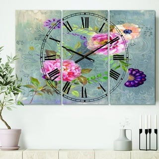 Designart 'Peonies and Paisley' Cottage 3 Panels Oversized Wall CLock - 36 in. wide x 28 in. high - 3 panels
