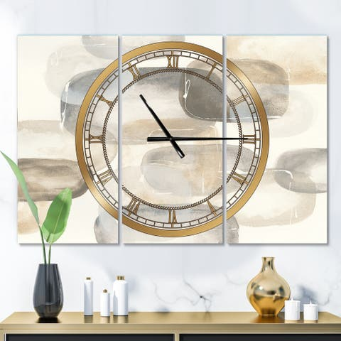 Designart 'Neutral Oval Grey Stones II' Glam 3 Panels Large Wall CLock - 36 in. wide x 28 in. high - 3 panels